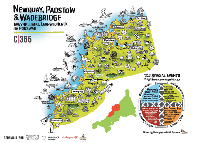 cornwall 365 map of newquay