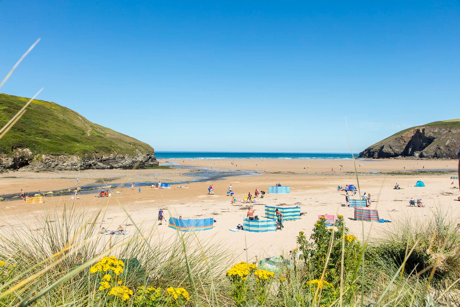 Mawgan Porth beach in summer