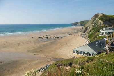 Watergate Bay beach and cliffs