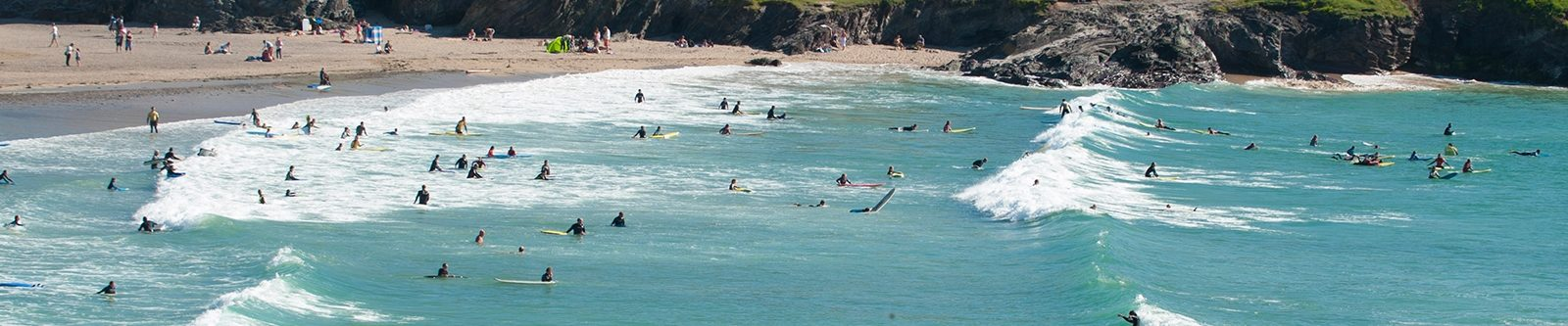 sea full of surfers