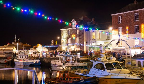 Christmas lights in Padstow