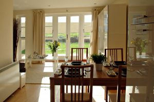 dining area through to lounge and garden
