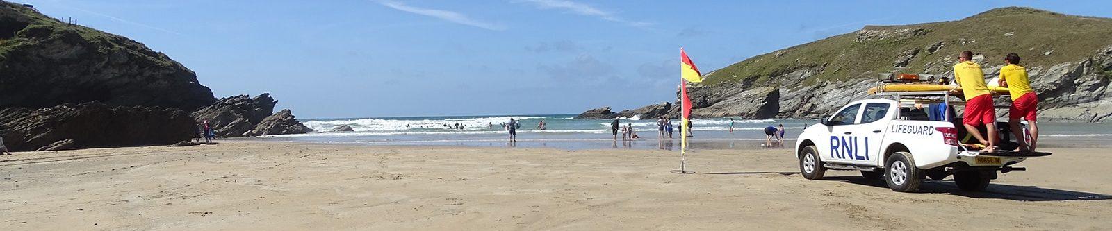 lifeguards on Porth beach