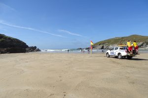 lifeguards on Porth beach