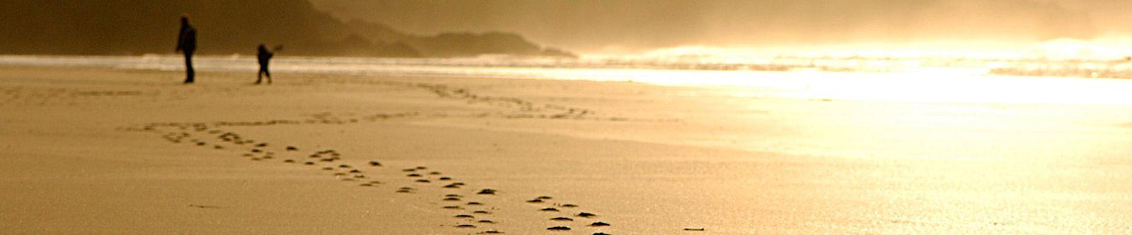 footprints at Watergate Bay