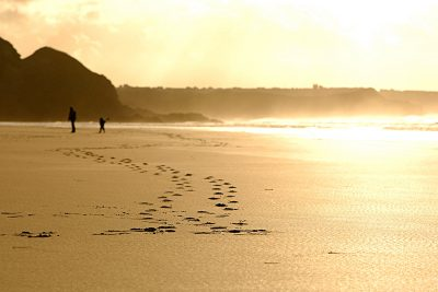 footprints at Watergate Bay