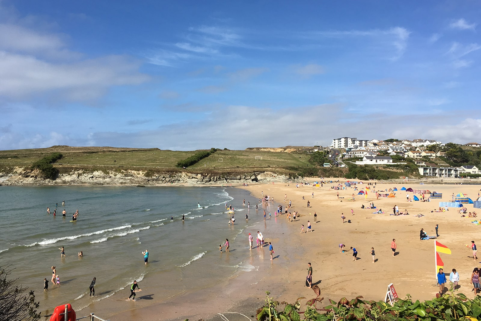 view of busy Porth beach