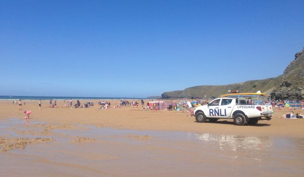 rnli truck at watergate bay