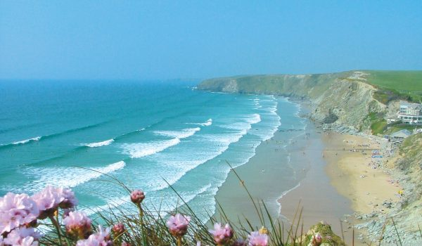 watergate bay beach with pink flowers on cliffs