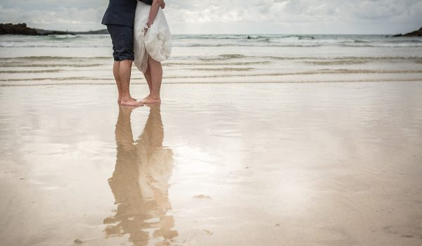 bridal couple on porth beach