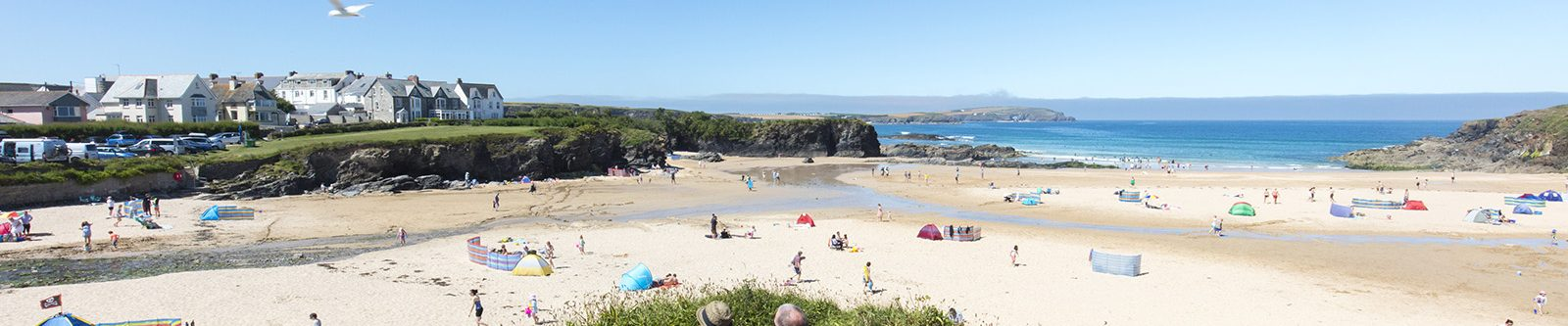 people at Trevone beach