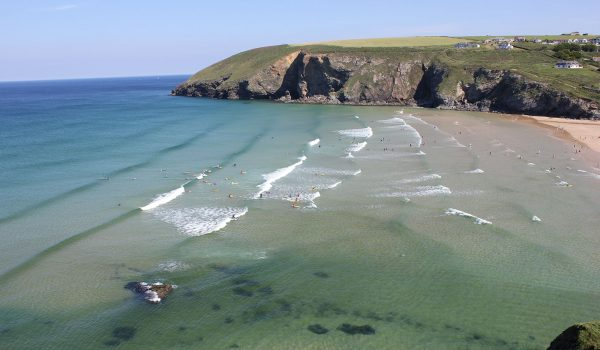 view of sea at Mawgan Porth
