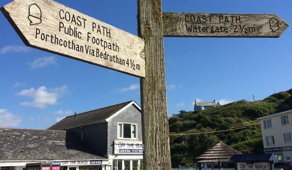 sign post at Mawgan Porth