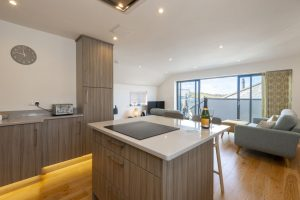 kitchen, breakfast bar and lounge