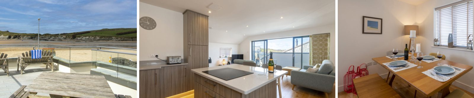 sun terrace, kitchen and lounge view, set table in dining area